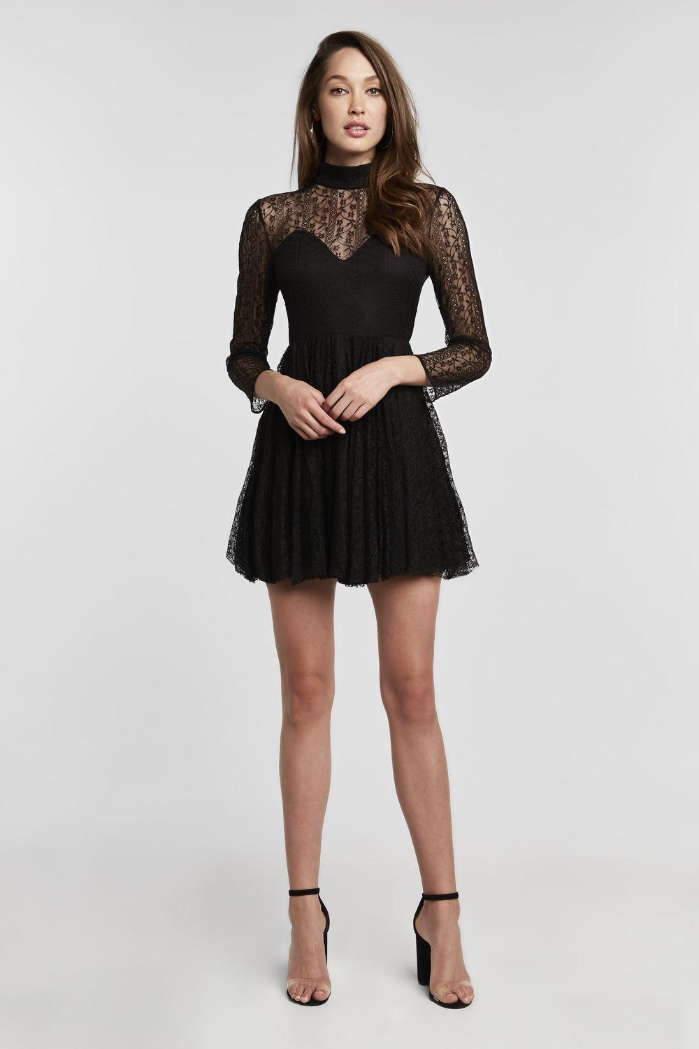 THEA LACE DRESS in colour CAVIAR