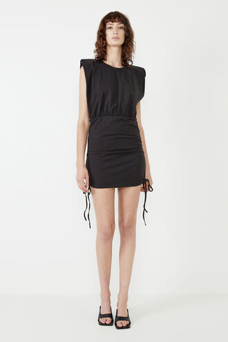TONI SHOULDER PAD MINI DRESS in colour CAVIAR