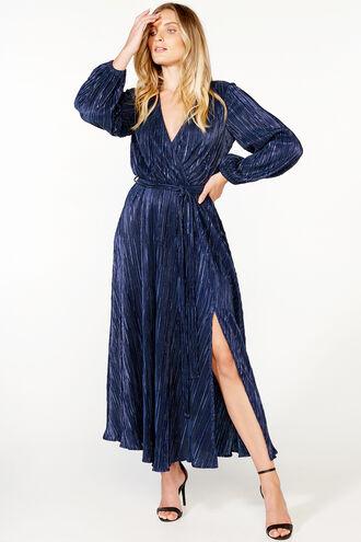 MELISSA PLEAT DRESS in colour EVENING BLUE