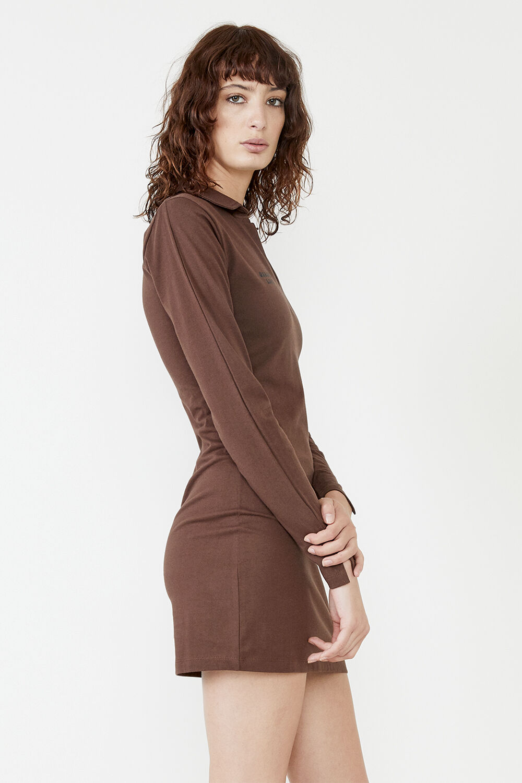 MARNIE COLLARED ORGANIC MINI DRESS in colour CHOCOLATE BROWN