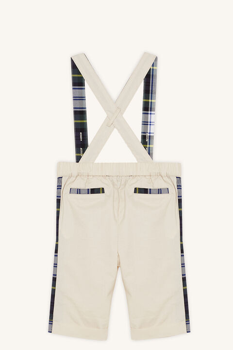BABY BOY tartan chino overall in colour BLEACHED SAND