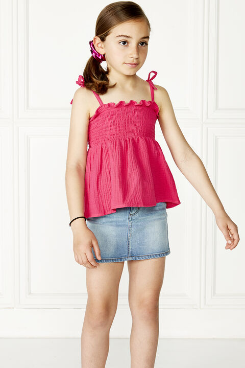 TWEEN GIRL nora shirred top in colour SHOCKING PINK