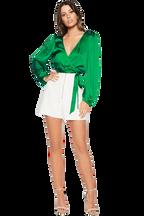 ELENA TIE BLOUSE in colour CLASSIC GREEN