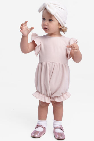 BASIC RIB ROMPER in colour CRYSTAL PINK