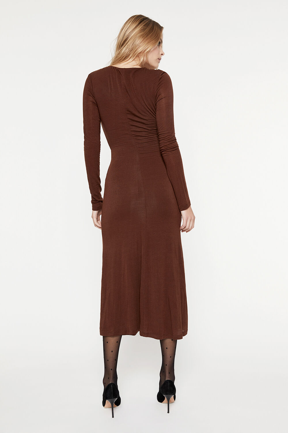 RUCHED JERSEY DRESS in colour CHOCOLATE BROWN