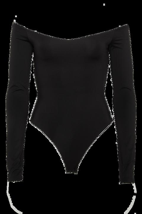 POPPY LONG SLEEVE BODYSUIT in colour CAVIAR