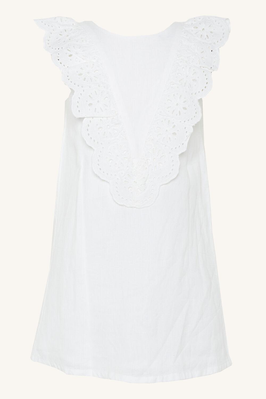 HILDE BRODERIE SHIFT DRESS in colour CLOUD DANCER