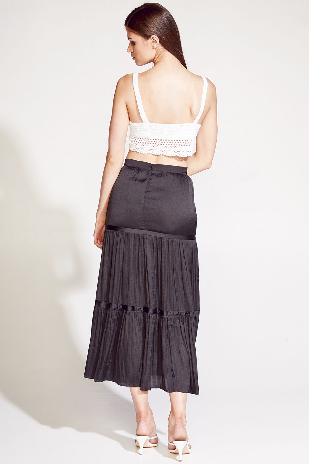 TAYLA TIER MAXI SKIRT in colour CAVIAR