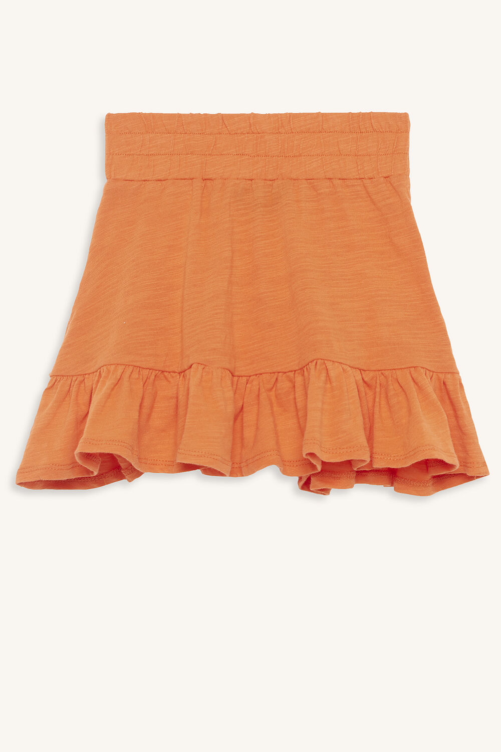 KARA RUFFLE SKIRT in colour MANDARIN RED