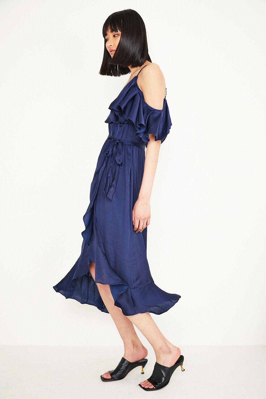BEA WRAP DRESS in colour MARITIME BLUE
