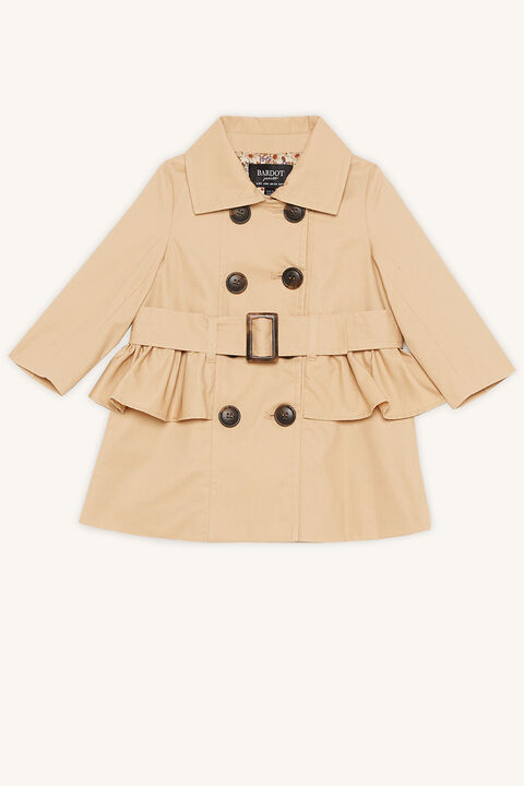 BABY GIRL SOPHIA RUFFLE TRENCH COAT in colour TAPIOCA