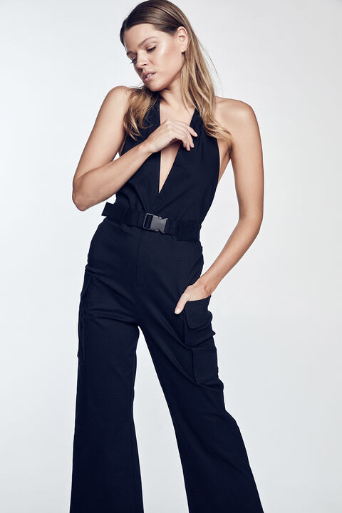 HALTER BUCKLE JUMPSUIT