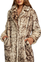 FAUX FUR SNAKE COAT in colour CAVIAR