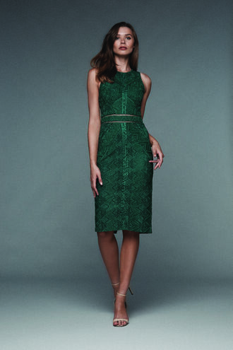 EVE LACE DRESS in colour POSY GREEN