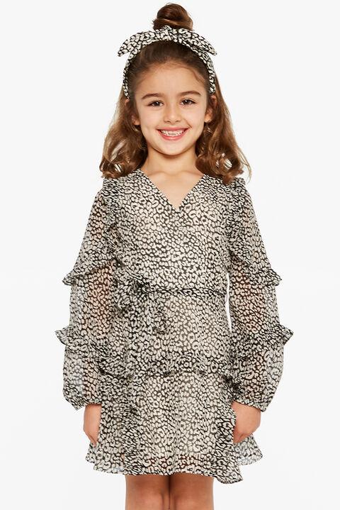 MIMI LEOPARD DRESS in colour BRIGHT WHITE
