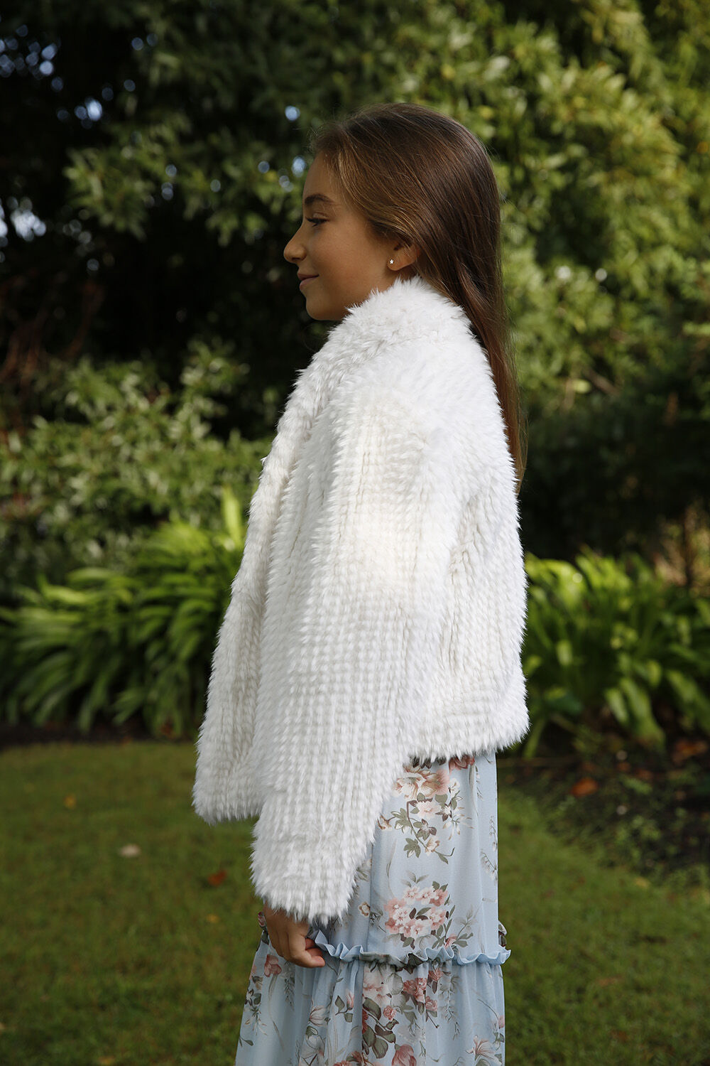 TWEEN GIRL MAY WATERFALL JACKET in colour CLOUD DANCER