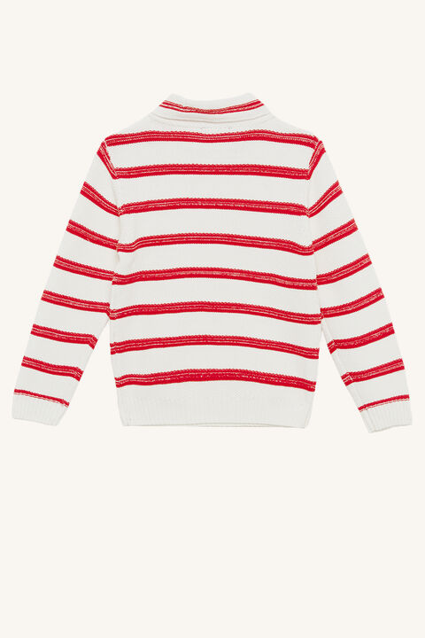 SHAWL STRIPE JUMPER in colour HIGH RISK RED
