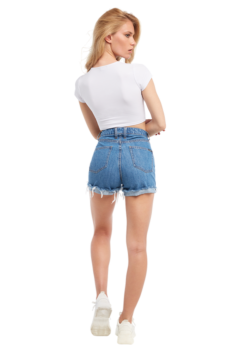 DENIM BUTTON SHORT in colour DUSTY BLUE