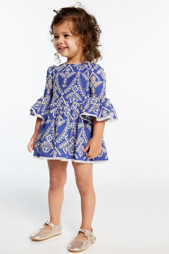 SIA BRODERIE DRESS in colour AMPARO BLUE
