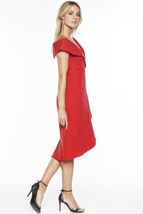 BELLA FLUTE DRESS in colour CHINESE RED