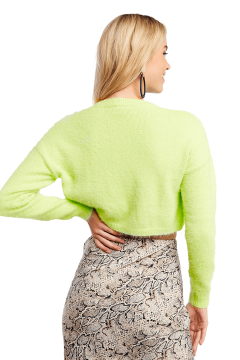 CROPPED FLUFFY KNIT JUMPER in colour LIMELIGHT