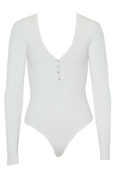 BUTTON UP RIB BODYSUIT in colour CLOUD DANCER