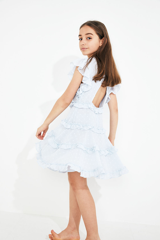 TWEEN GIRL MARYAM FRILL DRESS in colour BALLAD BLUE