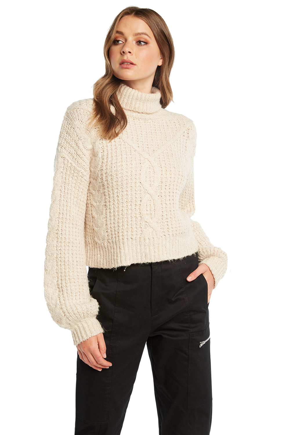 KARA CABLE KNIT JUMPER in colour OATMEAL