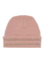 METALLIC CUFF BEANIE in colour DUSTY PINK