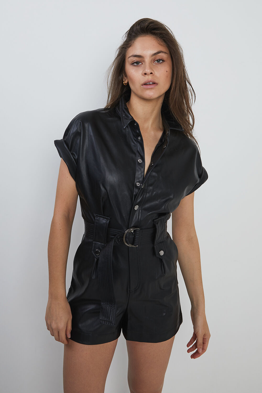 BELTED VEGAN LEATHER PLAYSUIT in colour CAVIAR