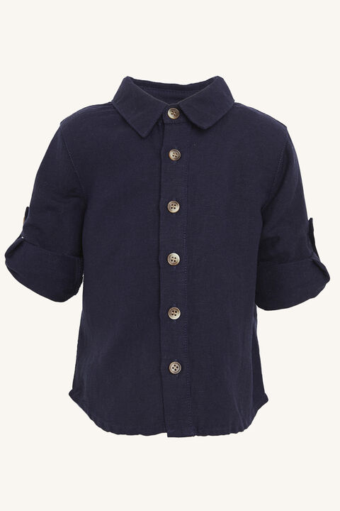 LINEN BEACH SHIRT in colour BLACK IRIS