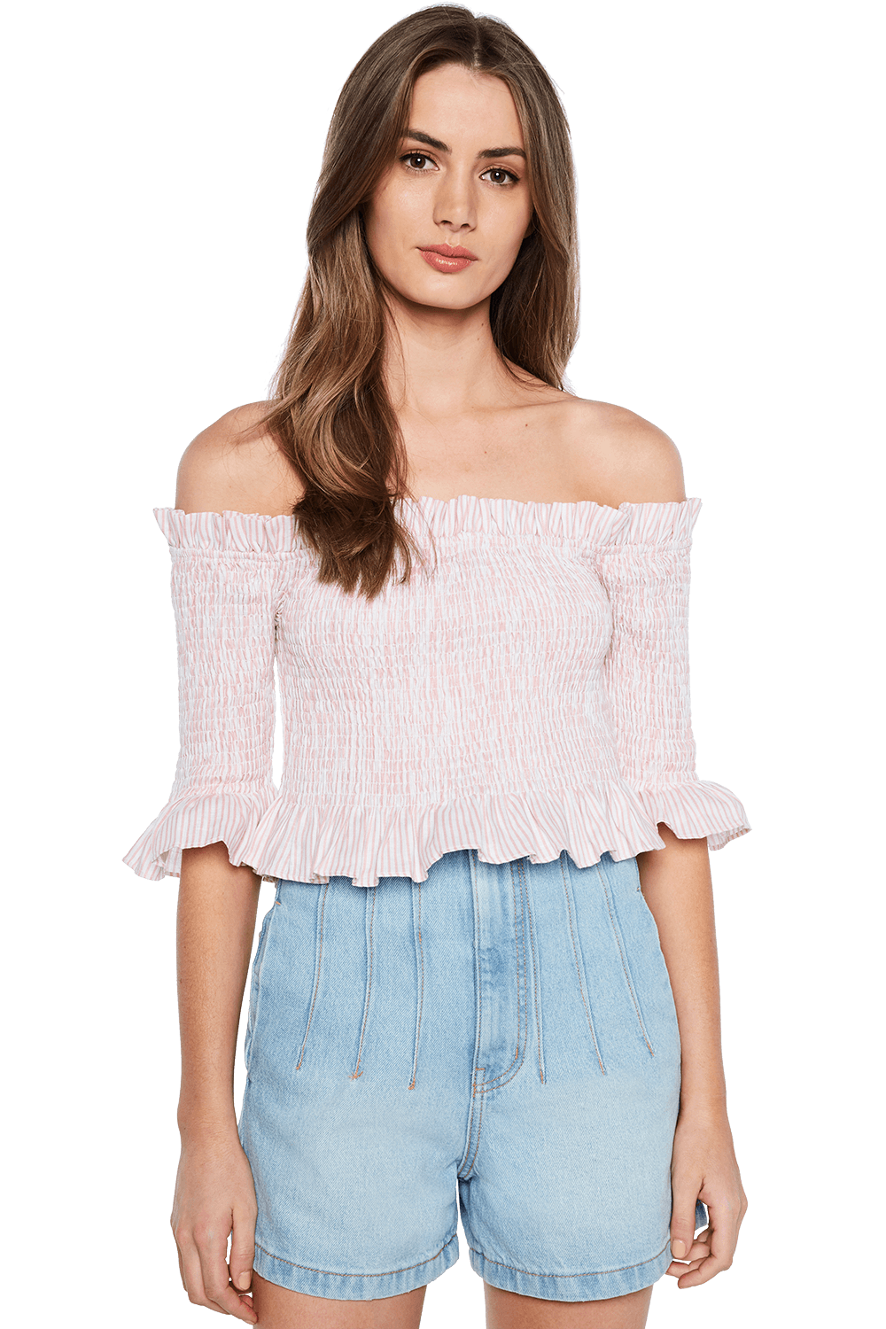 TINA SHIRRED TOP in colour CLOUD DANCER