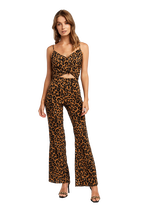 LEOPARD FLARE PANT in colour BEIGE