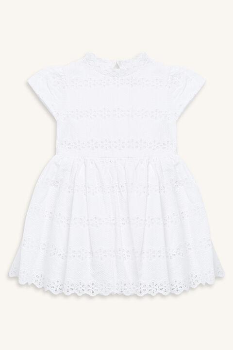 FLORA BRODERIE DRESS in colour CLOUD DANCER