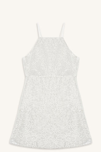AVERLY BEADED DRESS in colour CLOUD DANCER