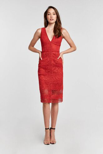 DARIA LACE DRESS in colour MARS RED