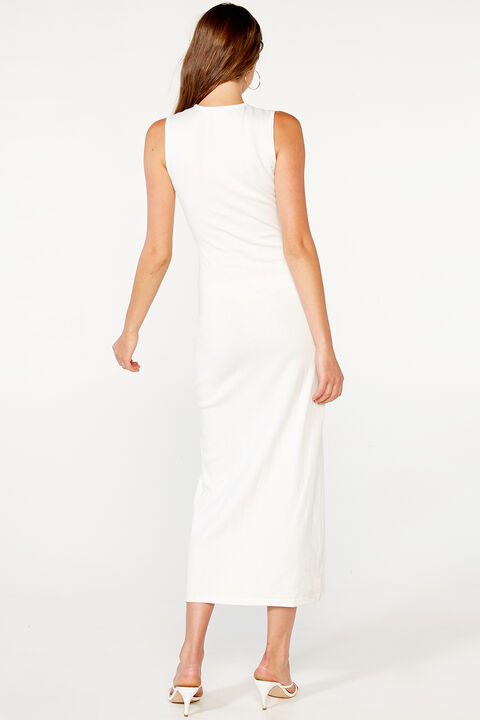 SARA KNIT MAXI DRESS in colour CLOUD DANCER