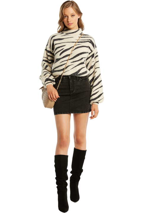 ZEBRA FUNNEL NECK JUMPER