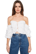 MONACO OFF SHOULDER TOP in colour SNOW WHITE