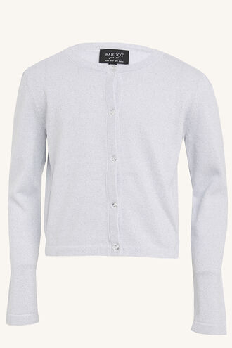 LUREX CARDIGAN. in colour SILVER