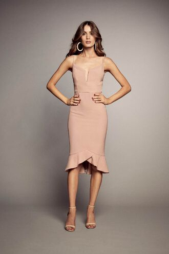 KRISTEN PEPLUM DRESS in colour MISTY ROSE