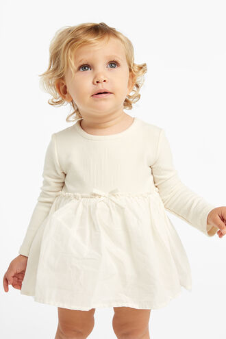 POPPY RIB DRESS GROW in colour EGGNOG