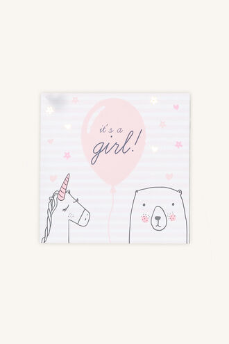 IT'S A GIRL GIFT CARD in colour PINK CARNATION