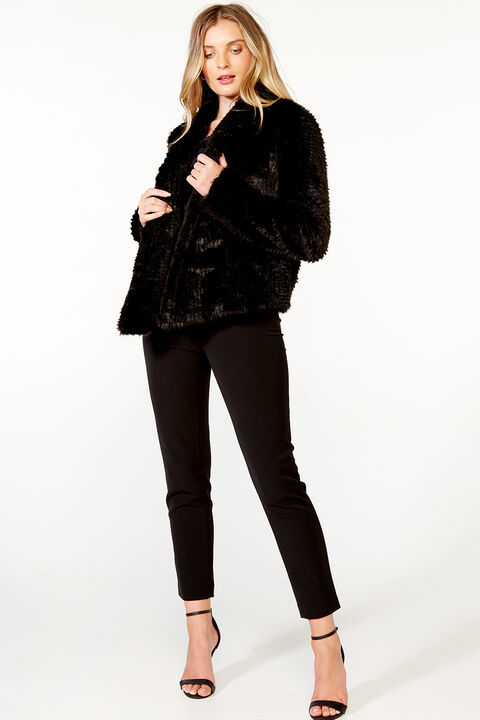 WATERFALL FAUX FUR JACKET in colour CAVIAR