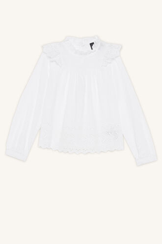 POPPY RUFFLE BLOUSE in colour BRIGHT WHITE