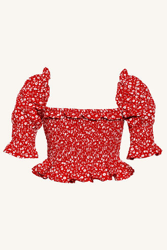 ELLE SHIRRED TOP in colour RIBBON RED