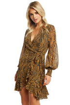 ZEBRA WRAP DRESS in colour TAPIOCA