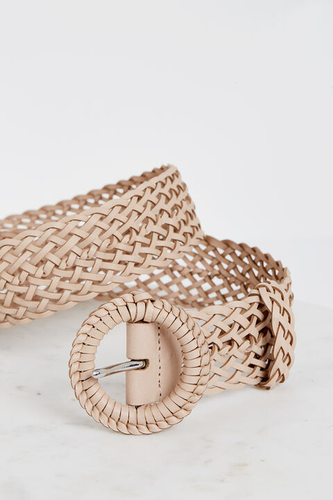 LEATHER WOVEN BELT in colour MOONLIGHT