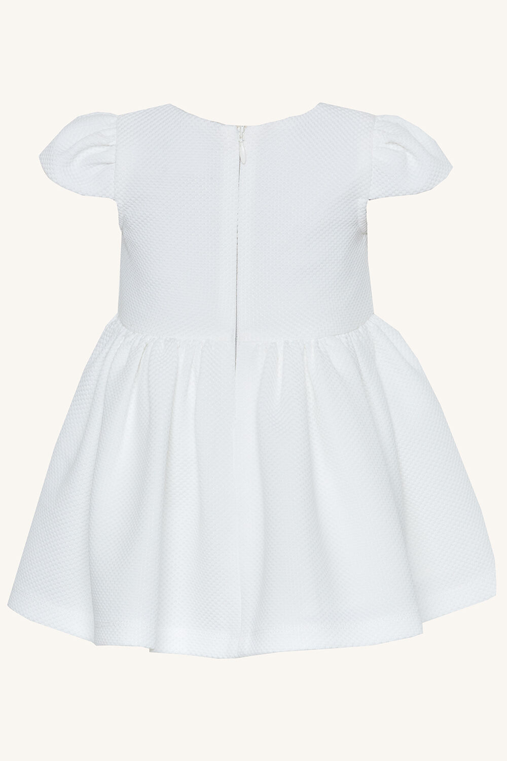 BABY GIRL POLLY BOW DRESS in colour CLOUD DANCER