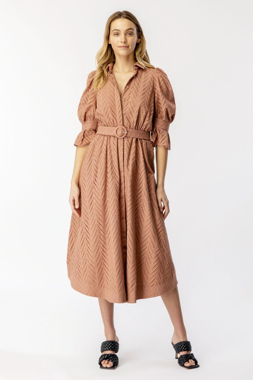 MINI BROIDERIE DRESS in colour PICANTE